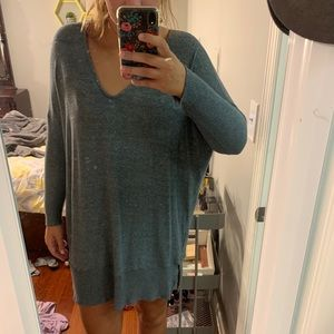 sweater dress,worn once! dark green/gray loose-fit